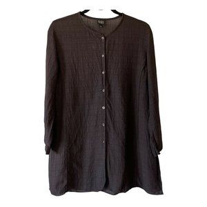 Eileen Fisher Brown Tunic Long Sleeve Button Front